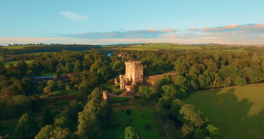 Aerial 4 K footage of medieval castle in Blarney, near Cork, Ireland, and the River Martin.