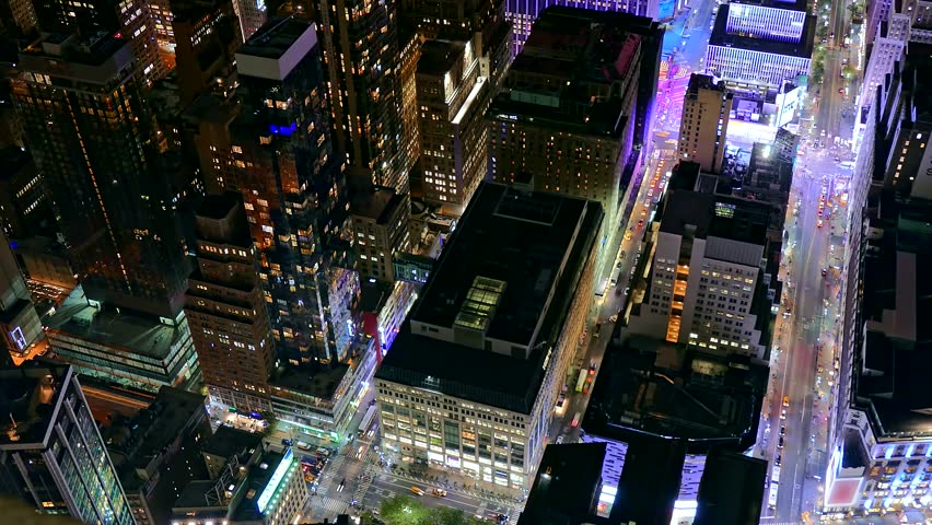 Aerial New York City Skyscrapers Illuminated Modern Night Footage Famous Travel Manhattan Building Tourism USA Drone Timelapse Crowded #15549736