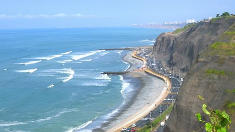 Wave in the Pacific Ocean at Miraflores in Lima, Peru