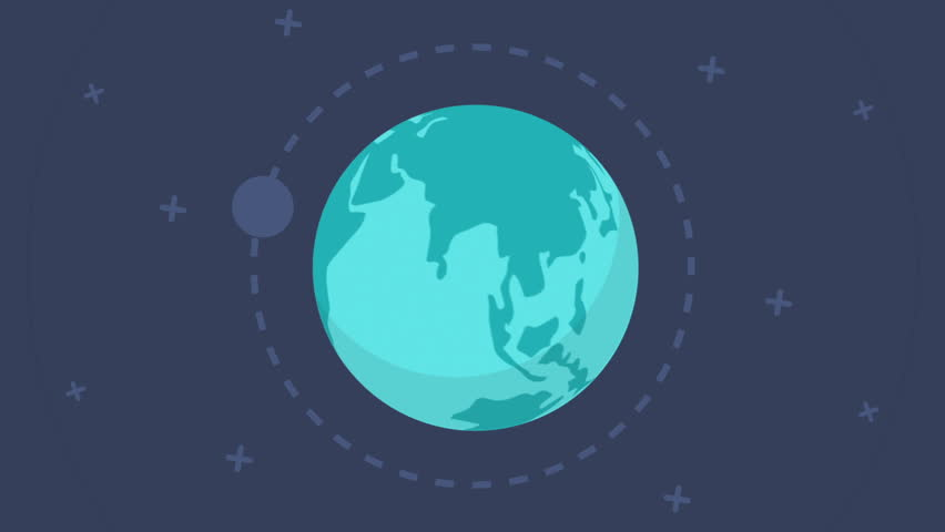 Flat design spinning Earth with communication network and satellites. This animation is a seamless loop. Animation of planet Earth. Flat style, flying around the moon, the planet revolves, rotates | Shutterstock HD Video #15580165
