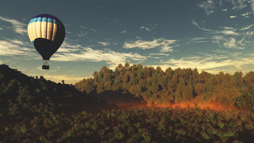 4K Hot Air Balloons over Lush Natural Wilderness Jungle in the Sunset Sunrise Cinema 4K 4096x2304 ultra high definition 3D Animation #15585856