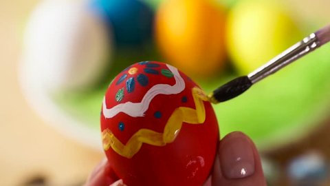 Colorful Easter Eggs Handmade, Paintbrush Draws Patterns