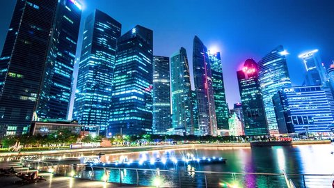 Singapore City Skyline - Timelapse of offices and buildings in downtown Marina Bay.