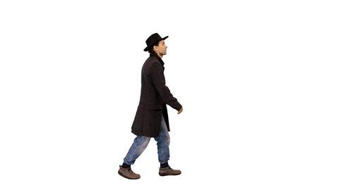 A man walking on transparent background, 4k shot with alpha channel