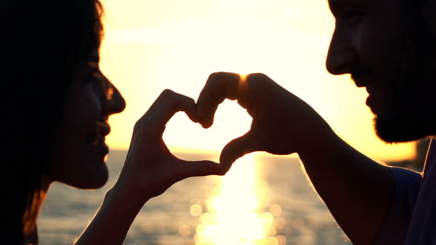 Couple Making Heart Symbol With Stock Footage Video 100 Royalty
