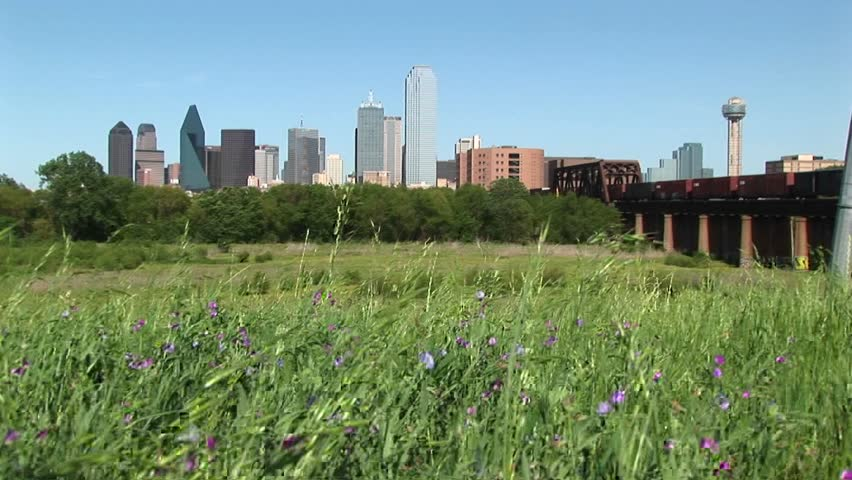 Long shot of the Dallas, Texas city skyline