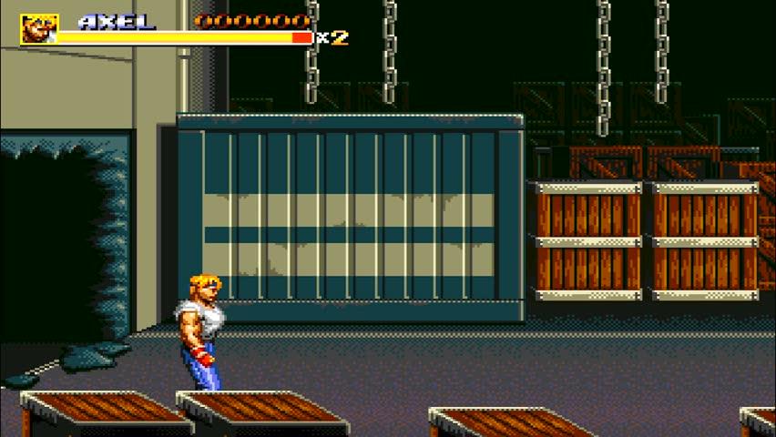 URYUPINSK. RUSSIA - APRIL 7, 2016: Gameplay game console Sega Genesis Bare Knuckle III - street fight brawl violent crime retro console games on April 7 2016 in Urupinsk, Russia