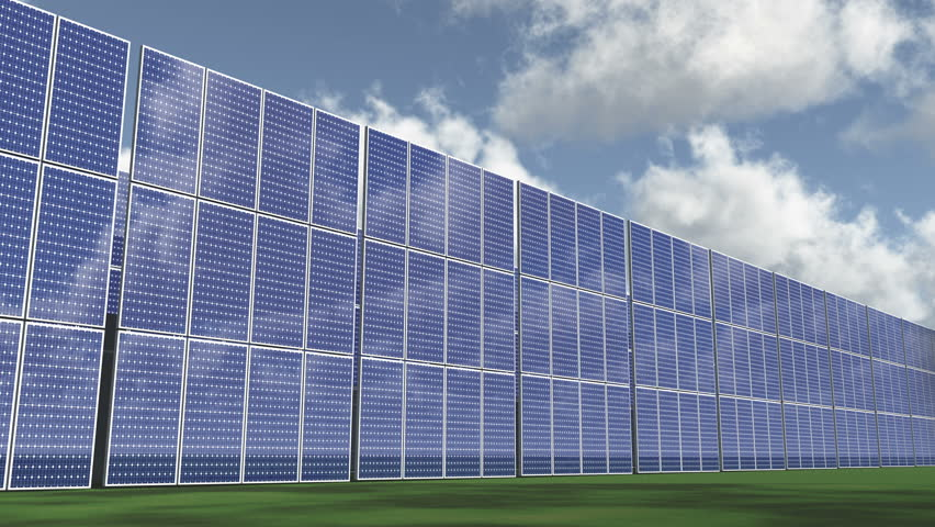 4k Solar panels-green free energy,timelapse clouds flying. cg_03289_4k