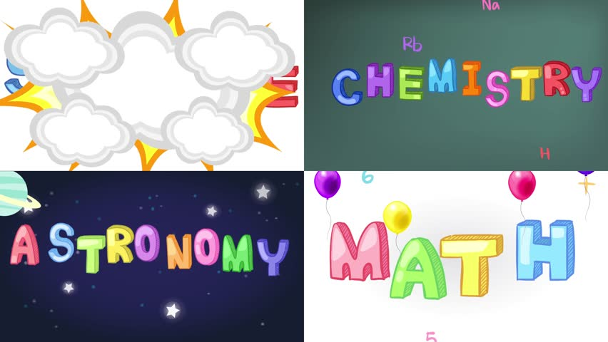 Four Screen Animation Of Science Math Chemistry Royalty Free Video