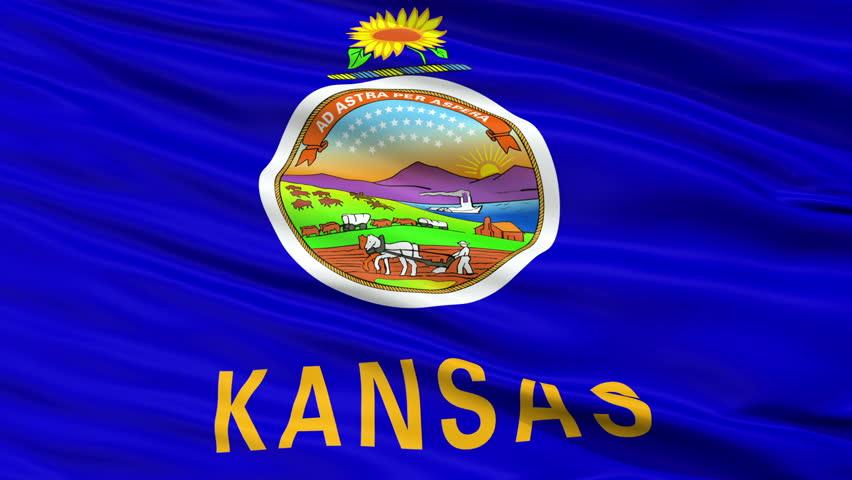 Kansas Flag Close Up Realistic Animation Seamless Loop - 10 Seconds Long