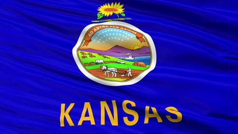 Kansas Flag Close Up Realistic Animation Seamless Loop - 10 Seconds Long