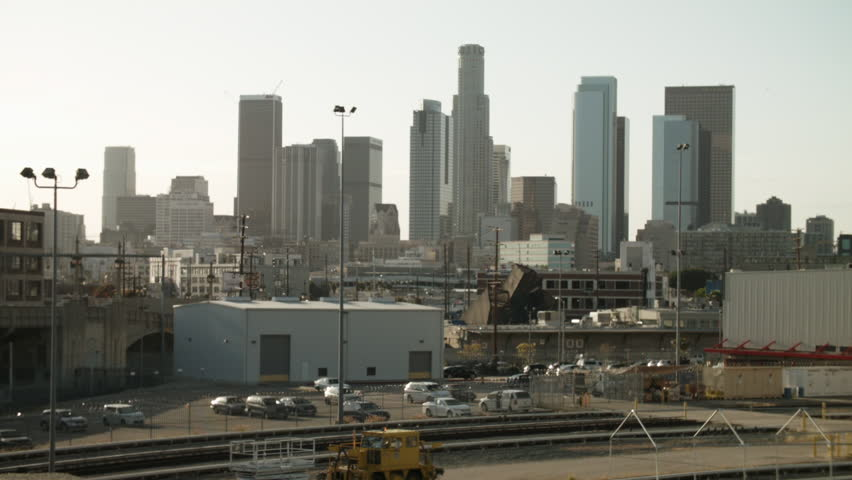 Los Angeles skyline from the 4th Street Bridge.   Shutterstock HD Video #15827416