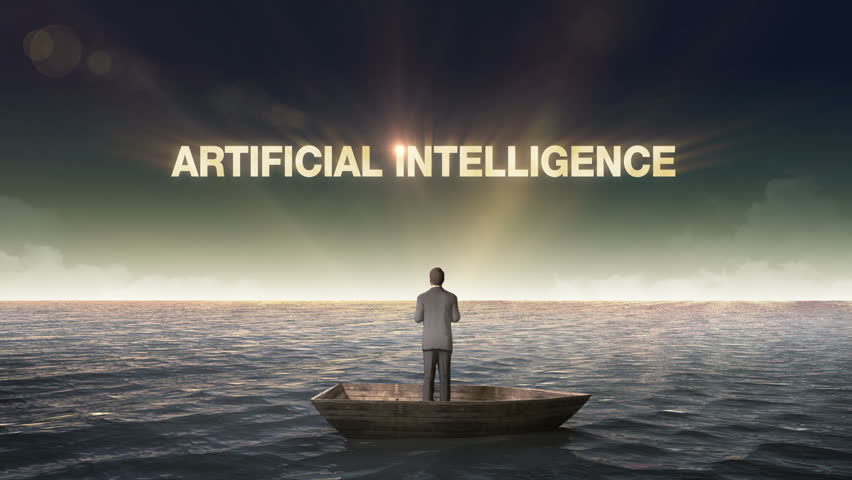 Rising typo ARTIFICIAL INTELLIGENCE, front of Businessman on a ship, in the ocean, sea.