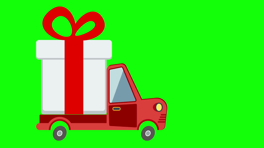Delivery Flat Transport Truck Van With Gift Box Pack On Green Screen Service Wedding Birthday