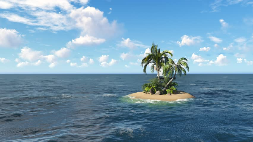 Lonely Island 3d Animation Coconut Or Palm Tree With