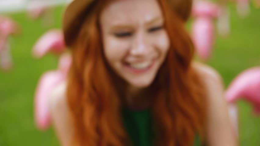 American USA young girl video diary selfie Pink Caucasian flamingo charity fundraising birds social media redhead happy friendship | Shutterstock HD Video #15862036