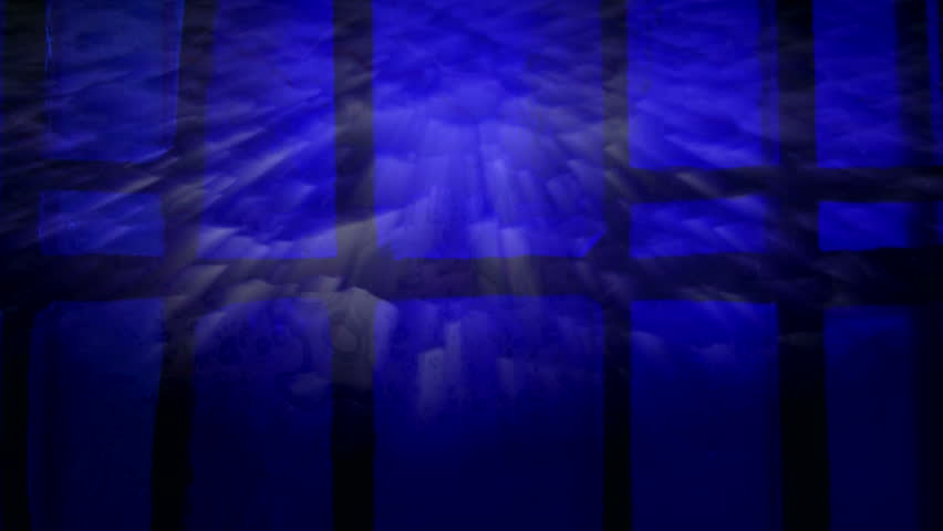 Abstract sun rays shining through deep blue stained glass window. HD 1080i