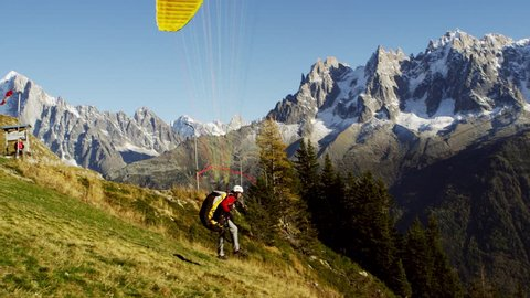 Paraglider French Alps Mont Blanc Chamonix, France 4K Stock Video Footage