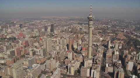 Aerial shot of the city of Johannesburg