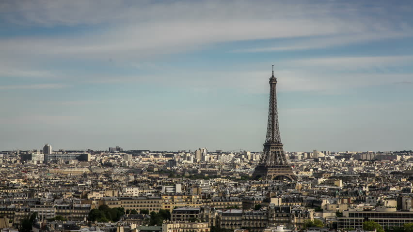 PARIS, FRANCE - AUGUST 7, 2015:  Day to night Time Lapse view of  Eiffel Tower. The Eiffel Tower is a wrought iron lattice tower on the Champ de Mars in Paris named after the engineer Gustave Eiffel. | Shutterstock HD Video #15899476