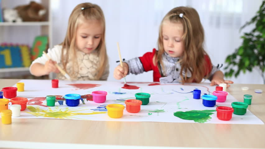Children paint with gouache. DOLLY HD