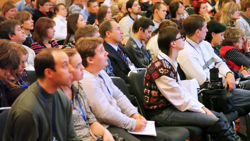 MOSCOW - OCTOBER 10: Audience at conference held for professional microstockers on October 10, 2010 in Moscow, Russia.