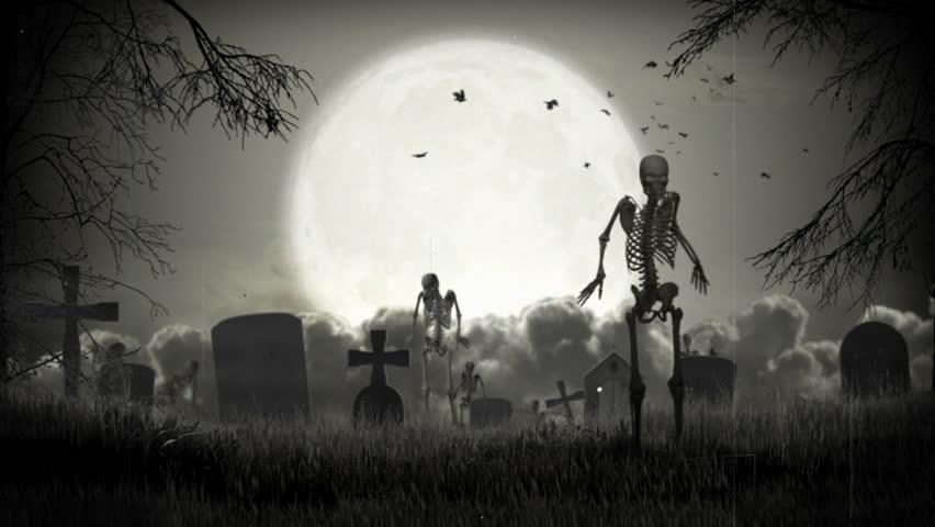 Dark graveyard. Halloween time. - HD stock footage clip
