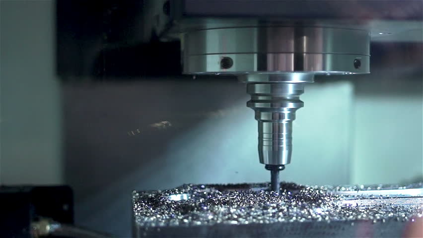 Drilling steel, slowmotion. Drilling Machine processes the metal, cut out the shape. Perhaps the Chinese factory or underground factory #15945826