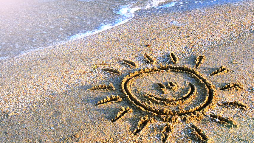 Sun Drawing On The Beach