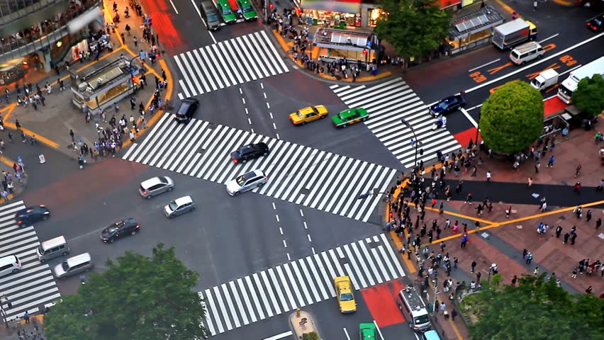 Time lapse of Tokyo's Shibuya pedestrian crossing also known as Shibuya scramble