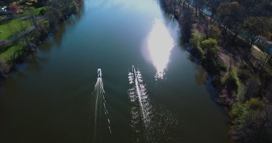 Aerial of Olympic Princeton Rowing Team. Lake Carnegie is a reservoir that is formed from a dam on the Millstone River, in the far northeastern corner of Princeton, Mercer County, New Jersey. (2016)