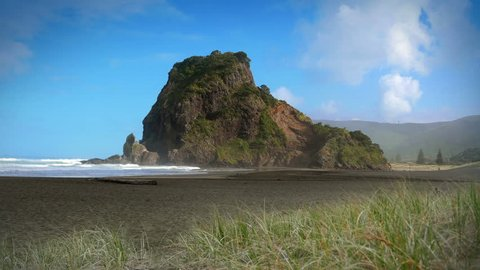 Piha Beach and Lion Rock, West Auckland, New Zealand. Popular Piha Beach is the birthplace of surfing in New Zealand. Lion Rock is an eroded volcanic neck named for its similarity to a male lion.