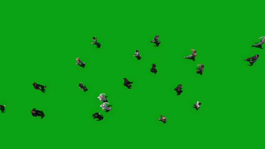 people walk top view green screen 3d rendering