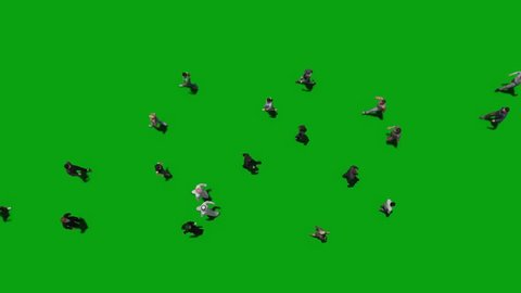people walk top view green screen 3d rendering