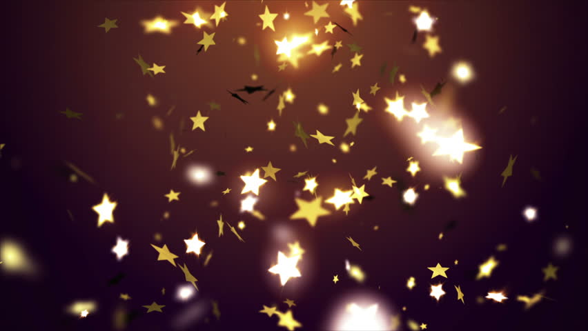 Golden confetti falling down, animation