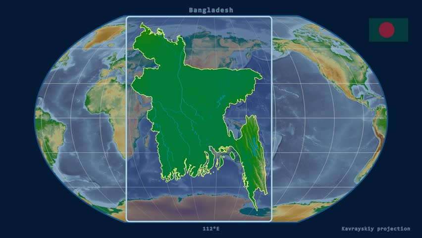 Zoomed in view of a bangladesh outline with perspective lines zoomed in view of a bangladesh outline with perspective lines against a global physical map in the kavrayskiy vii projection stock footage video 16061596 gumiabroncs Image collections