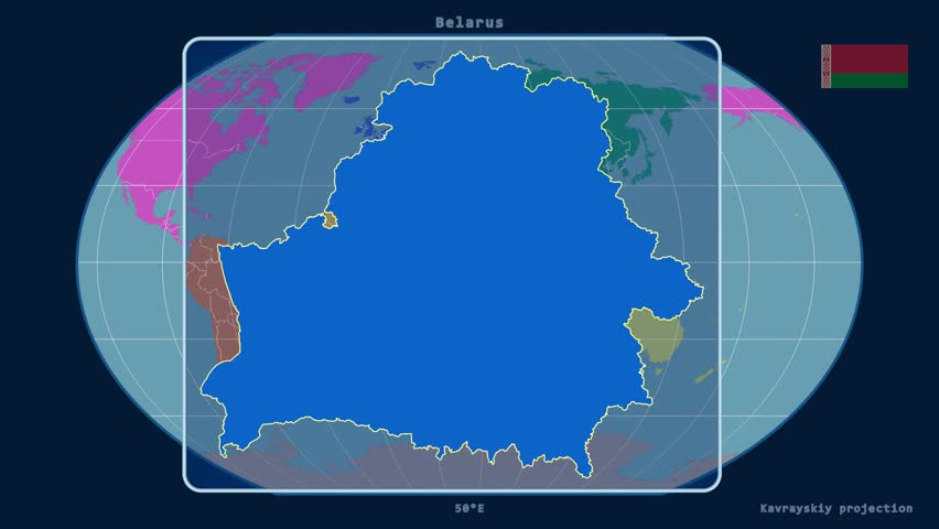 Netherlands extruded on the world map with administrative borders zoomed in view of a belarus outline with perspective lines against a global map of gumiabroncs Choice Image