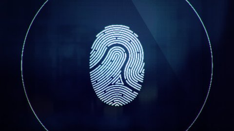 Animation of scanning and analysis biometric data from fingerprint. Animation of seamless loop.