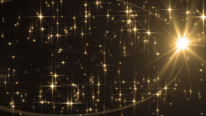 Abstract Gold Background With Rays Sparkles. Animation gold background with lens flare rays in dark background sky and stars. Seamless loop. | Shutterstock HD Video #16100566