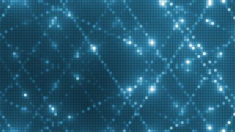 Vj Abstract Blue Bright Mosaic. Bright blue beautiful flood lights disco background mosaic. Seamless loop.