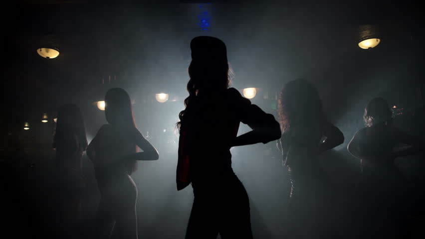 silhouettes of girls dancing