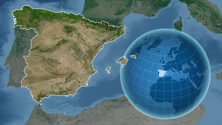 Satellite Map Of Spain.Spain Shape Animated On The Stock Footage Video 100 Royalty Free 16112116 Shutterstock