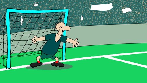 BOMBKEEPER Small gag about football game.2D animated cartoon.HD 1080.