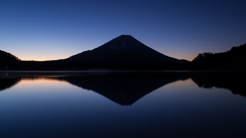 Sunrise over Lake Shoji and Mt Fuji, Fuji Hazone Izu National Park, Japan