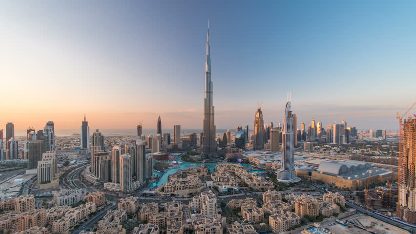 Dubai Downtown day to night timelapse view from the top in Dubai, United Arab Emirates