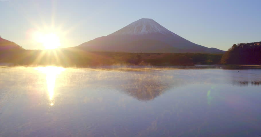 Sunrise over Lake Shoji and Mt Fuji, Fuji Hazone Izu National Park, Japan - 01/12/2015