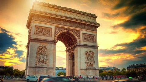 Beautiful sunset over Arc de Triomphe. Paris, France. Timelapse, Full HD, 1080p