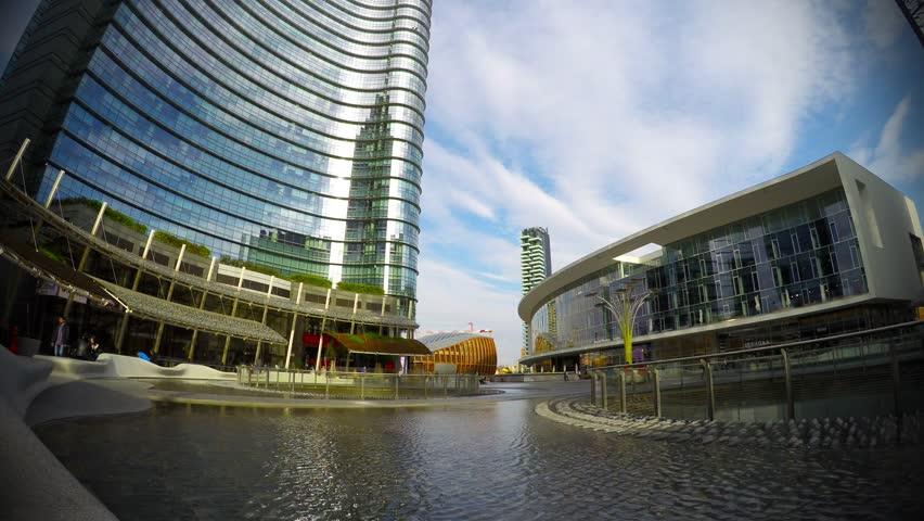 Modern Architecture Videos moscow - jun 16: ( timelapse, wide view) modern bridge over water