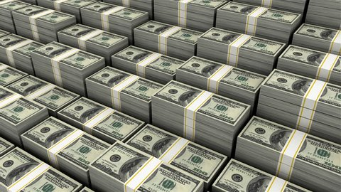 Pile of Money (Loop able) 3d animation of large pile of $100 currency stack