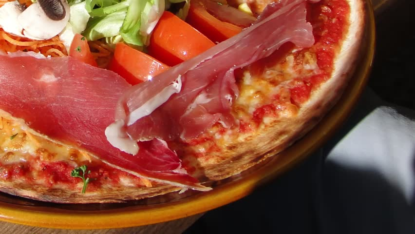 Timelapse speed up of italian pizza baking in traditional oven montagnard pizza with prosciutto and salad in the ski area near chatel france forumfinder Image collections